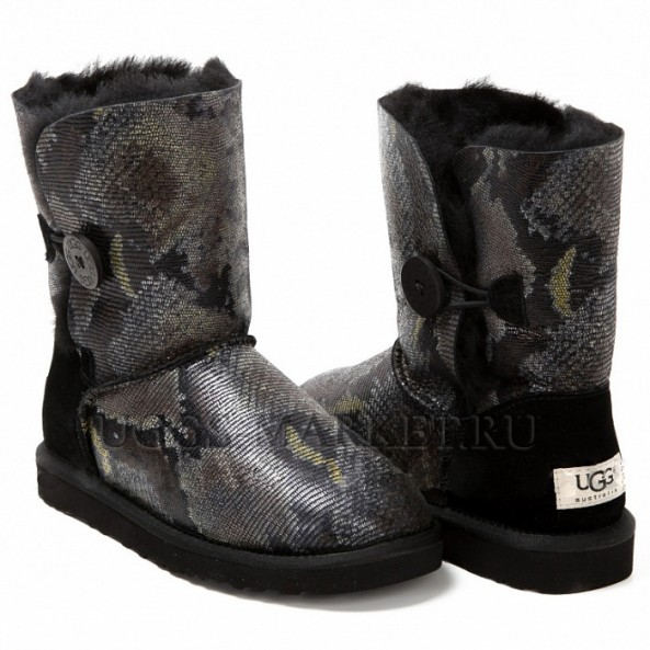 UGG Bailey Button Snake Dark Black
