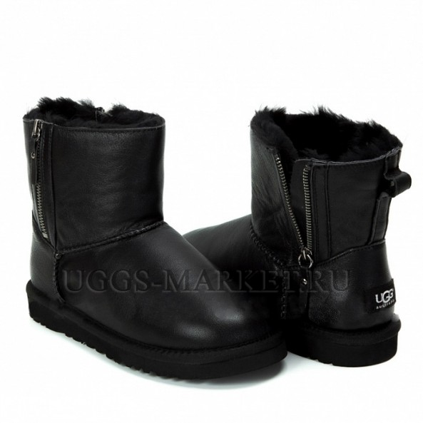 UGG Mini Double Zip Metallic Black