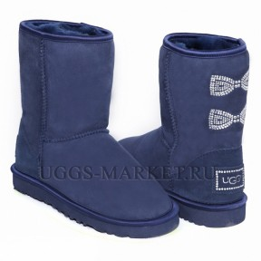 UGG Classic Short Crystal Bow Navy