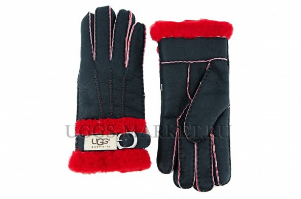 Перчатки UGG Fashion Belt Glove Black Red