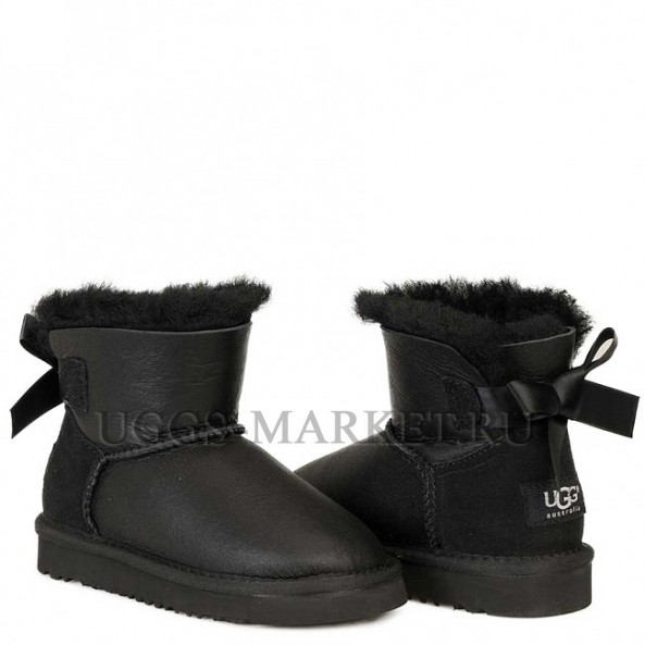 UGG Kids Bailey Bow Mini Metallic Black