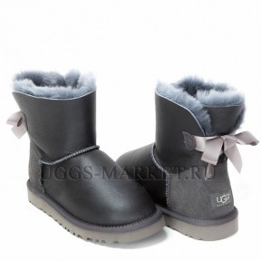UGG Mini Bailey Bow Metallic Grey