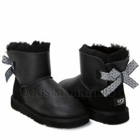 UGG Mini Bailey Bow Pattern Metallic Black