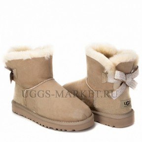 UGG Mini Bailey Bow Pattern Sand