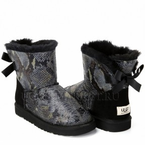 UGG Mini Bailey Bow Snake Dark Black