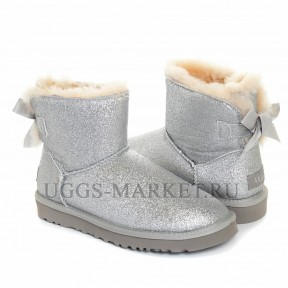 UGG Mini Bailey Bow Sparkle Boot Grey