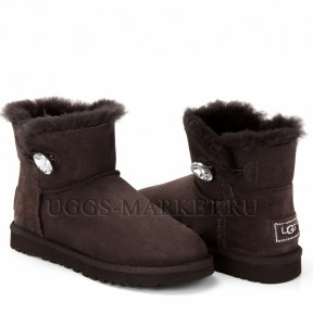 UGG Bailey Button Mini Bling Chocolate