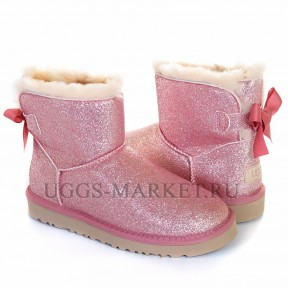 UGG Mini Bailey Bow Sparkle Boot Pink