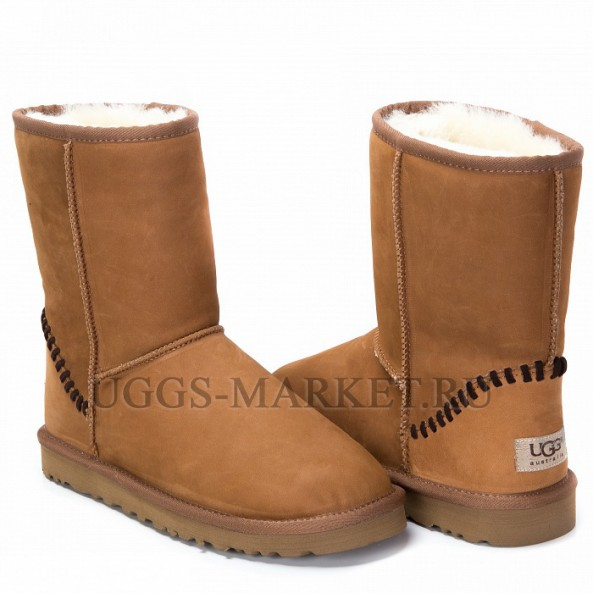 UGG Men's Classic Short Deco Leather Chestnut
